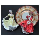 TWO ROYAL DOULTON FIGURINES and CABINET PLATE