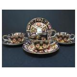 4 ROYAL CROWN DERBY TEACUPS & SAUCERS