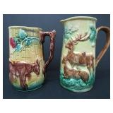 TWO 19TH C. MAJOLICA PITCHERS