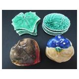 FOUR SETS OF 19TH C. MAJOLICA BUTTER PATS