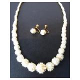 VINTAGE CARVED IVORY BEADED NECKLACE & EARRINGS