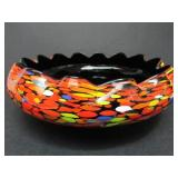 HANDBLOWN ART DECO SPATTER GLASS BOWL