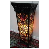 DECORATIVE STAINED GLASS PEDESTAL FLOOR LAMP