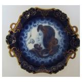 BAVARIAN PORCELAIN FLOW BLUE PORTRAIT PLATE