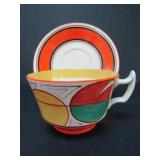 "CLARICE CLIFF FANTASQUE ""MELON"" CUP AND SAUCER"