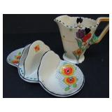 BURLEIGH WARE ART DECO TOAST RACK and CREAMER
