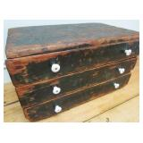 EARLY PINE 3-DRAWER STORAGE CHEST