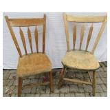 TWO ANTIQUE ARROW-BACK SIDE CHAIRS