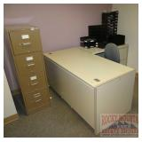 Steel Corner Desk, Chair & Office Organizer.