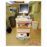 Rolling Lab Cart W/ Monitor, Printer & Extra Toner