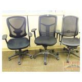 3 Black Meshback Chairs