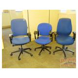 3 Blue-toned Wheeled Office Chairs