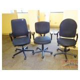 3 Black Fabric Adjustable Chairs