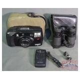 Minolta 35mm Camera, Binoculars & Radio.