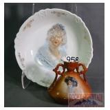 Vintage Figural Porcelain Bowl & Vase.
