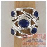 Modern Set Sterling & Sapphire Dress Ring.
