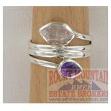 Modern Sterling, Herkimer Diamond & Amethyst Ring.