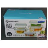New MM 24 PC. Glass Food Storage Containers