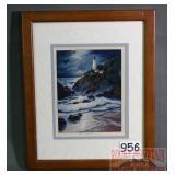 Nice Framed Lighthouse Print.  11X9.
