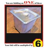 """Stainless Steel 1/6 Pans with Lids (6"""")"""
