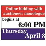 1st lot sells at 6:00 PM on Thursday, April 8