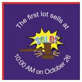 First lot sells at 10 AM on Saturday, October 26
