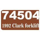 1992 Clark Forklift -- miles/hours  1865
