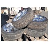 "Set of 4 tires and rims, 24"", spinners"