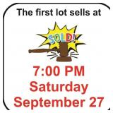 First lot sells at 7:00 PM on Saturday, Sept. 28