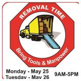 Removal dates and times