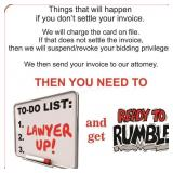 Failure to settle your invoice
