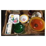 Box W/ Art Glass, Collector Plates, & More