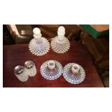 6 Pieces of Hobnail Milk Glass