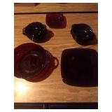 Red Glass bowls and plates