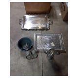 Serving trays, 2 cruits, chalice, ect
