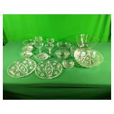 Assorted glass dishes, bowls, and drinkware