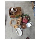 Assorted wicker baskets and rings