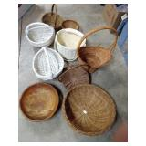Wooden bowl and wicker baskets