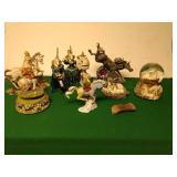 Unicorn figurines, snowglobe, and music box