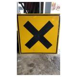 X- Crossing Metal Road Sign