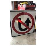 No U-turn Metal Road Sign