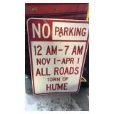 No Parking Town of Hume Metal Road Sign