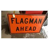 Flagman Ahead Metal Road Sign