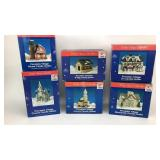 6-Winter Village Porcelain Candle Holders