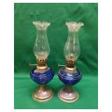 Two Blue Oil Lamps- Matching