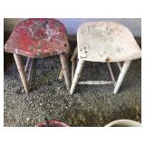 2 Wooden Stools With No Backs