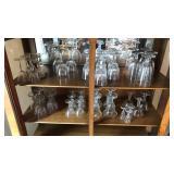 2 Shelves of Stemware Glass & Sunday Dishes