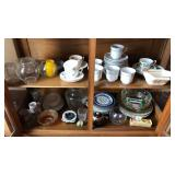 2 Shelves of Tea Cups & Glassware