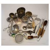 Lot Of Kitchen Utensils, Flour Sifters, Funnels