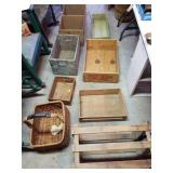 Lot Of  Wooden Boxes & A Basket
